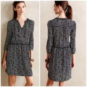 Anthropologie Maeve Long-Sleeve Polka Dot Dress